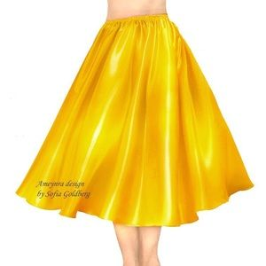Yellow-good Satin Skirt Mid-Calf New All Sizes